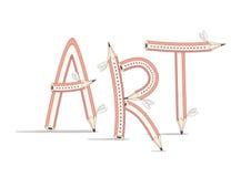 艺术 包括在白色背景的滑稽的文本铅笔 免版税图库摄影