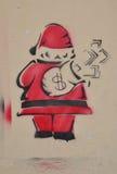 艺术贪婪的圣诞老人钢板蜡纸 库存照片