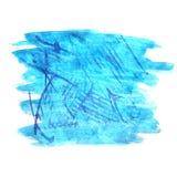 艺术水彩墨水油漆蓝色一滴水彩 免版税库存照片