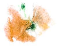 艺术水彩墨水油漆黄色,绿色一滴 库存图片