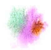 艺术水彩褐色,紫色,绿色墨水油漆一滴 库存照片