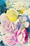 绘画艺术水彩风景原始五颜六色玫瑰 免版税库存照片