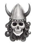 艺术头骨北欧海盗纹身花刺 免版税库存图片
