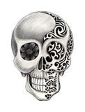 艺术头骨纹身花刺 免版税库存图片