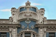 艺术Nouveau大厦在里加,拉脱维亚 免版税图库摄影