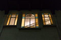 艺术nouveau法国词jugendstil在11月的德国窗口里 免版税库存图片