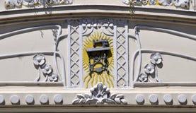 艺术Nouveau缝纫机门面细节  免版税库存图片