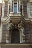 艺术Nouveau里加市建筑学样式的片段  免版税库存照片
