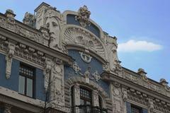 艺术Nouveau, Jugenstil大厦在里加拉脱维亚 免版税库存照片