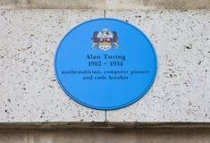 艾伦・图灵匾在剑桥 库存照片