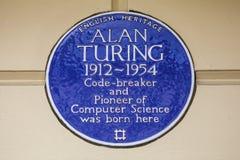 艾伦・图灵蓝色匾在伦敦 库存图片