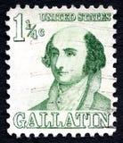 艾伯特・加勒廷美国邮票 库存图片