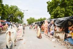 艾哈迈达巴德:Ganesha Charturthi节日的准备 图库摄影