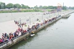 艾哈迈达巴德:Ganesha Charturthi节日的准备 库存照片
