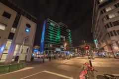 艾恩德霍芬, NETHERLAND - 2017年10月17日:艾恩德霍芬夜都市风景 免版税图库摄影