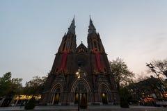 艾恩德霍芬, NETHERLAND - 2017年10月17日:艾恩德霍芬大教堂 St凯瑟琳` s教会 库存图片