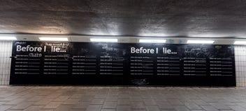 艾恩德霍芬, NETHERLAND - 2017年10月17日:艾恩德霍芬都市风景和墙壁与,在我死句子前 免版税库存照片