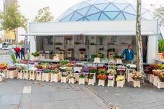艾恩德霍芬, NETHERLAND - 2017年10月17日:花卖主在艾恩德霍芬, Netherland 免版税库存图片