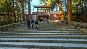 艾斯津沽Naiku (艾斯盛大寺庙-内在寺庙)在艾斯市,三重县 免版税库存图片