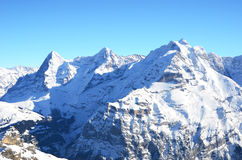 艾格峰、芒什和少女峰,瑞士山峰 免版税图库摄影