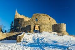 艾森伯格城堡废墟在冬天 库存照片