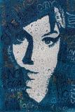 艾米・怀恩豪斯,帆布,丙烯酸漆画象有过滤器雨珠的 图库摄影