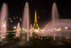 艾菲尔铁塔和喷泉在Jardins du Trocadero,巴黎 库存照片
