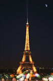 艾菲尔铁塔和月亮 库存图片