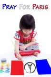 绘艾菲尔铁塔商标的小女孩 为巴黎祈祷 11月13日 图库摄影