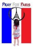绘艾菲尔铁塔商标的小女孩 为巴黎祈祷 11月13日 免版税库存图片