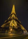 艾菲尔铁塔在夜,巴黎,法国 图库摄影