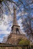 艾菲尔铁塔在巴黎法国,著名旅游业地标 库存照片