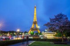 艾菲尔铁塔明亮地被照亮在微明 库存照片