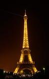 艾菲尔铁塔显示它美好的光 库存照片