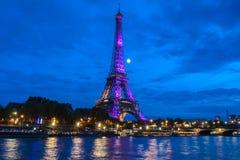 艾菲尔铁塔点燃庆祝300百万分之一个访客自1889开头以来,巴黎,法国 免版税库存照片