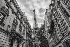 艾菲尔铁塔的看法在巴黎,法国黑白colore 库存图片