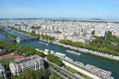 从艾菲尔铁塔,巴黎,法国的河视图 免版税库存图片