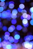 节假日发光的蓝色模糊的光bokeh 库存照片