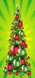 节假日在光芒四射的背景的装饰品结构树 免版税库存照片