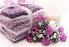节假日淡紫色温泉处理 图库摄影