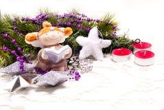 节假日设计的新年度看板卡与天使 免版税库存图片