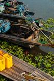 细节几在Inle湖的小船 免版税库存图片