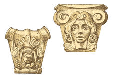 细节古老经典大厦 建筑装饰元素 显示托斯卡纳,多立克体,离子和罗马专栏 图库摄影