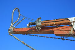 细节帆柱和链子 免版税库存照片