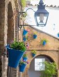 细节庭院(露台)一个典型的房子在科多巴, Andal 免版税库存图片