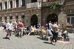节日五颜六色的Respublik诺伊施塔特,德累斯顿,德国 免版税图库摄影