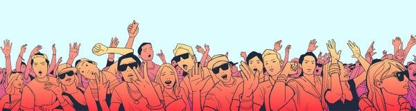 节日人群的例证获得乐趣在音乐会在全景视图和高细节 向量例证