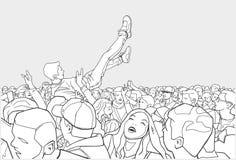 节日党和人群冲浪的例证 免版税库存图片