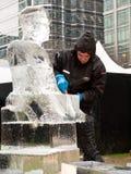节日冰伦敦雕塑 免版税图库摄影