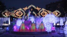 节日到圣诞节`,音乐森林,莫斯科,俄罗斯的`旅途 股票视频